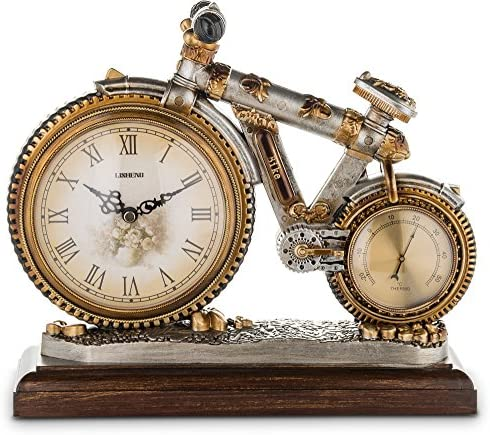 Bicycle Shape Decorative Mantel Clock, Vintage Style Antiqued Finished