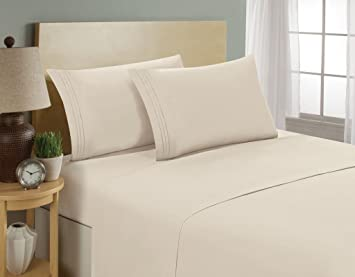 Luxurious Sheets Set 1800 3-Line Collection Brushed Microfiber Deep Pocket Super Soft and Comfortable