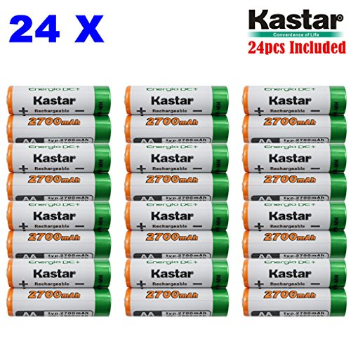 Kastar AA (24-Pack) Ni-MH 2700mAh Super High-Capacity Rechargeable Batteries Pre-charged.