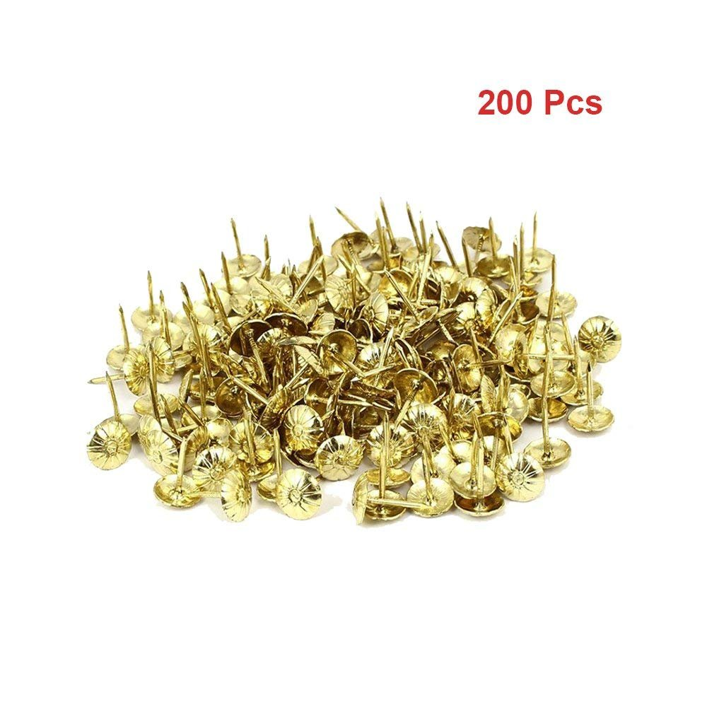 Sydien 200 Pcs Decorative Nails For Furniture Sofa Headboard Wall Decor Tacks Crystal Charm Upholstery Nails Heads Gold Tone by Sydien (Image #2)