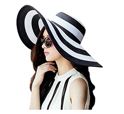 088bd15bc59 Image Unavailable. Image not available for. Color  Ericotry SPF 50+ Stripe  Ridge Large Wide Floppy Brim Summer Beach Sun Hat Straw Cap