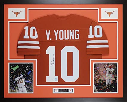 best loved 44527 e25c7 Vince Young Autographed Orange Longhorns Jersey ...