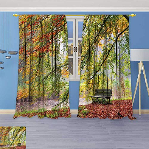 (Window Curtain Drape Beautiful Autumn View of a Bench Under a Bright Colored Autumn Tree in hetAmsterdamse bos Decorative Curtains for Living Room 96W x 72L Inch)