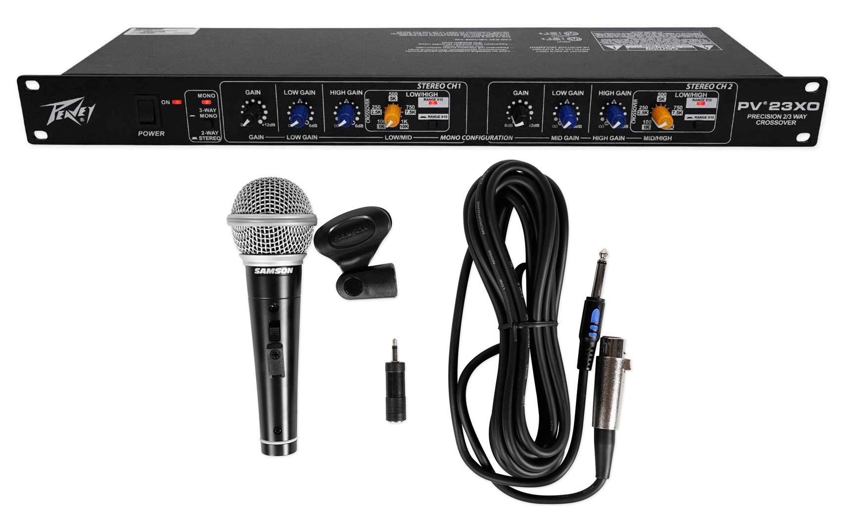 Peavey PV 23XO 2-Way Stereo/3Way Mono Crossover+Samson Microphone+Cable+Clip