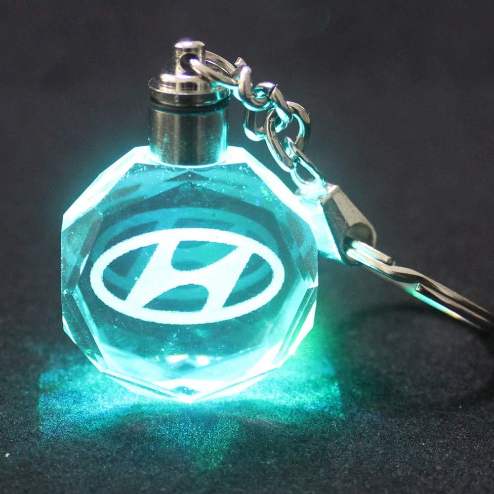 VILLSION LED Logo Portachiavi Auto Accessori Chiave con Scatola Regalo Cambia Colore Luce di Cristallo