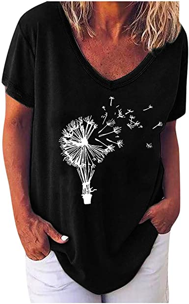 Womens Casual V Neck T-shirt Short Sleeve Letter Print Blouse Tops Plus Size