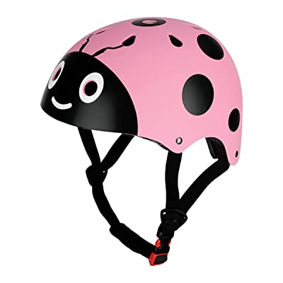 FEESHOW Cute Ladybug Multi-Sport Skateboarding Skating & Cycling Safety Bike Helmet for Kids Pink One Size : Sports & Outdoors