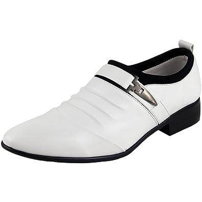 1e1c6ddfa42 wealsex Chaussures de Ville Sans Lacets Bout Pointu Homme Chaussures  D Affaires Grande Taille 45