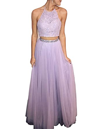Holygift Halter Neck Long Prom Dresses Two Piece Formal Evening Gowns