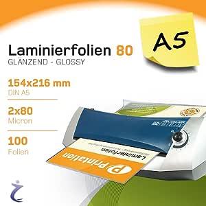 Bolsas para plastificar Printation, 100 piezas, DIN A5, 216 x 154 ...