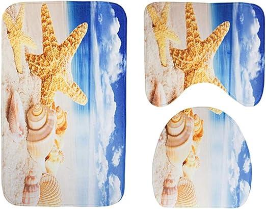 Yellow OUNONA 3 Piece Halloween Bath Mat Set Non-Slip Bath Carpet Rug Toilet Lid Cover Soft Pedestal Rug