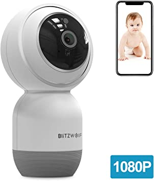 Opinión sobre Cámara IP WiFi, BlitzWolf 1080P HD Cámara de Vigilancia WiFi Inalámbrica con Audio de Dos Vías, Detección de Movimiento, Visión Nocturna, Seguridad para Bebé/Anciano/Mascota(No Incluye Tarjeta SD)