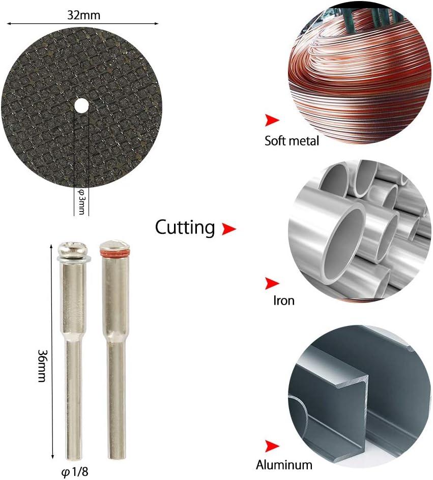 c/éramique m/étal bois verre porcelaine Dremel Lot de 32 disques /à tron/çonner circulaires diamant/és avec 4 /épines pour bois carrelage