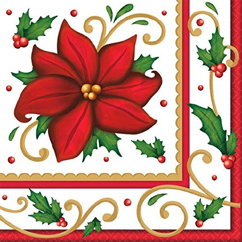 Poinsettia Napkin - Winter Botanical Paper Luncheon Napkins, 125 Ct. | Party Tableware