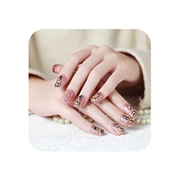 Amazon.com: 24 uñas postizas 3D para mujer, uñas postizas de ...