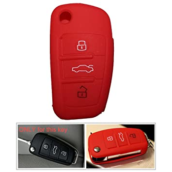 tuqiang® 1 x rojas Llave Cover Llave de Coche para Audi Colores Carcasa de silicona Funda Carcasa 3 teclas Mando a condición llaves