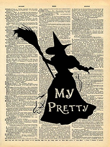 Wizard of Oz Witch Art - Heart Loved By Others Quote - Vintage Dictionary Print 8x10 inch Home Vintage Art Abstract Prints Wall Art for Home Decor Wall Decor Living Room Bedroom Ready-to-Frame