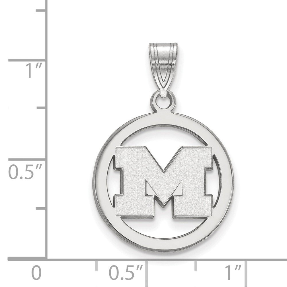 Jewel Tie 925 Sterling Silver University of Michigan Sm Pendant in Circle