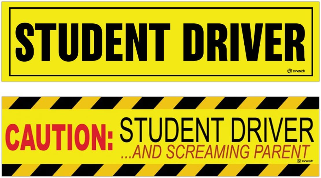 """Zone Tech /""""Caution Student driver and Screaming Parent/"""" Car Magnet Funny New Driver Magnet 12/"""" X 3/"""" 3 Pack"""