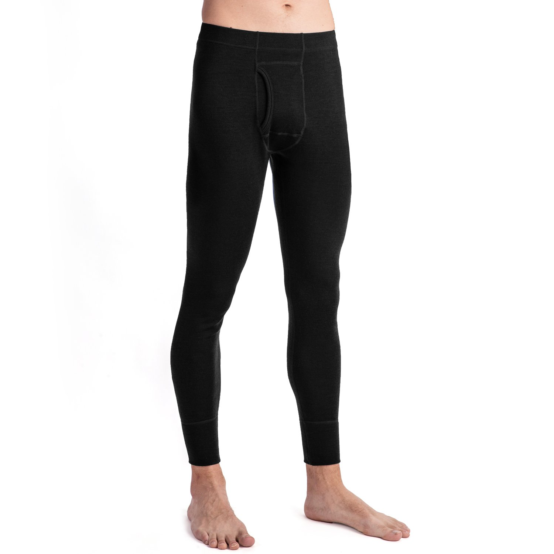 MERIWOOL Men's Merino Wool Midweight Baselayer Bottom - Black/XL