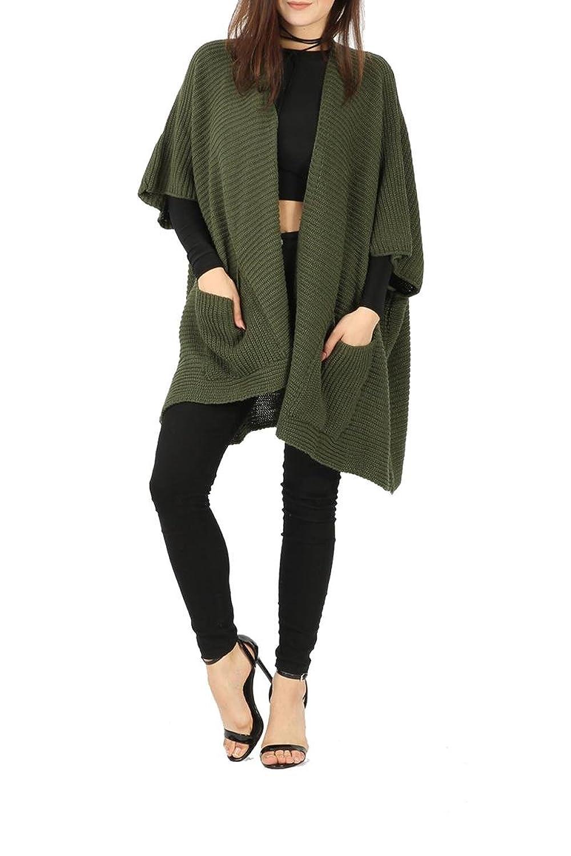 Girl Talk Clothing Womens 3/4 Sleeve Open Front Box Knit Wear Winter Cardigan