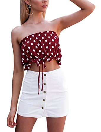 d1a542b1f6 BEAdressy Women Sexy Red Bandeau Tube Cop Top White Dots Ruffled Strapless  Cami Tank With Ruched