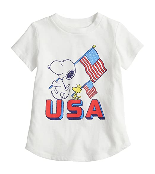 be38cedc Amazon.com: USA American Flag Snoopy and Woodstock Toddler Girl ...