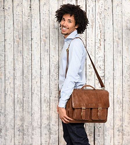 buffalo genuine Nutmeg leather vintage briefcase LEABAGS style in Crazyvinkat Miami wU1nqxxEg