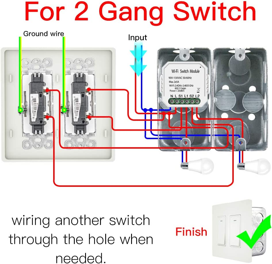 MOES 2 Gang 3 Way Mini WiFi Smart Light Switch Wall Socket Outlet 5A Jumpers With A Double Gang Receptacle Wiring on