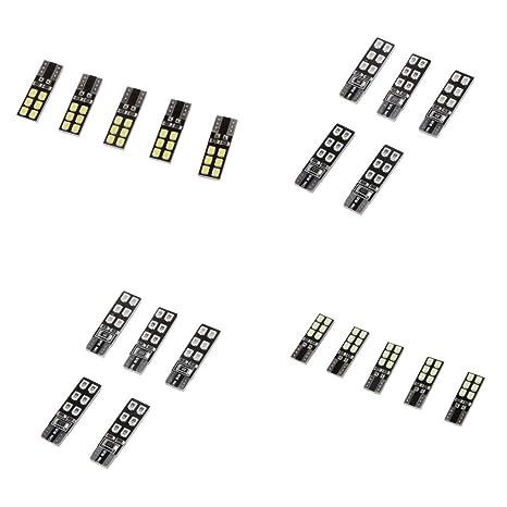 Gazechimp 20x Bombillas de Iluminación 12SMD 2.4W de Plástico LED Seguridad Componentes de Iluminación Coches