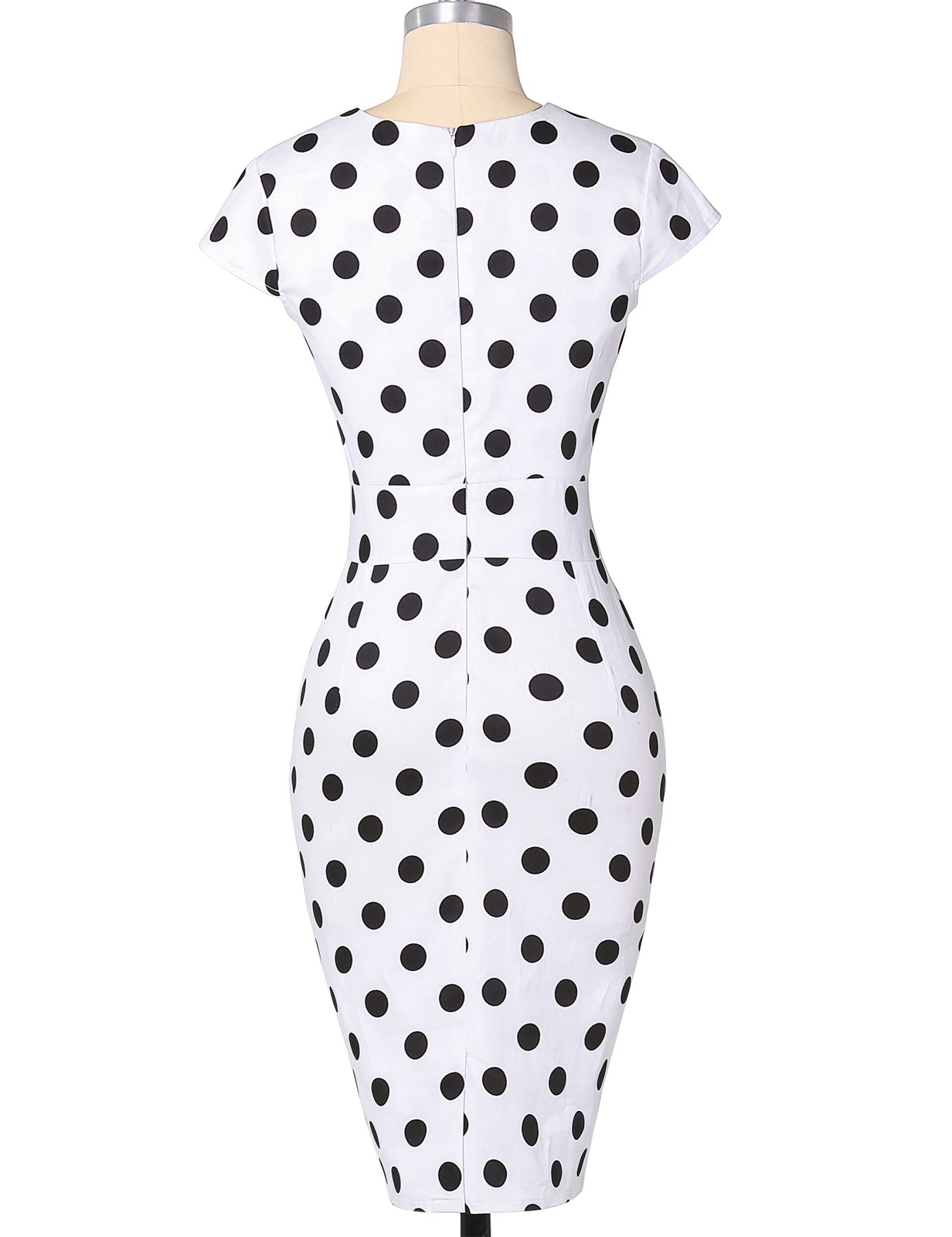 Polka Dots Vintage Ball Prom Dress Cap Sleeve White S CL7597-1 by Belle Poque Retro Dress (Image #2)