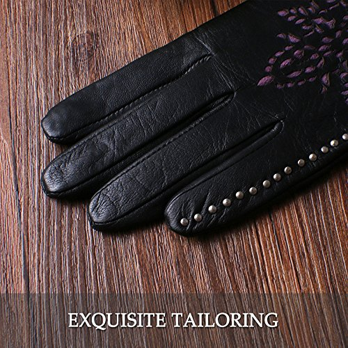 Nappaglo Women's Genuine Nappa Leather Gloves Perforated Winter Warm Short Gloves with Purple Lace (S (Palm Girth:6.5''-7''), Black (Non-Touchscreen)) by Nappaglo (Image #5)