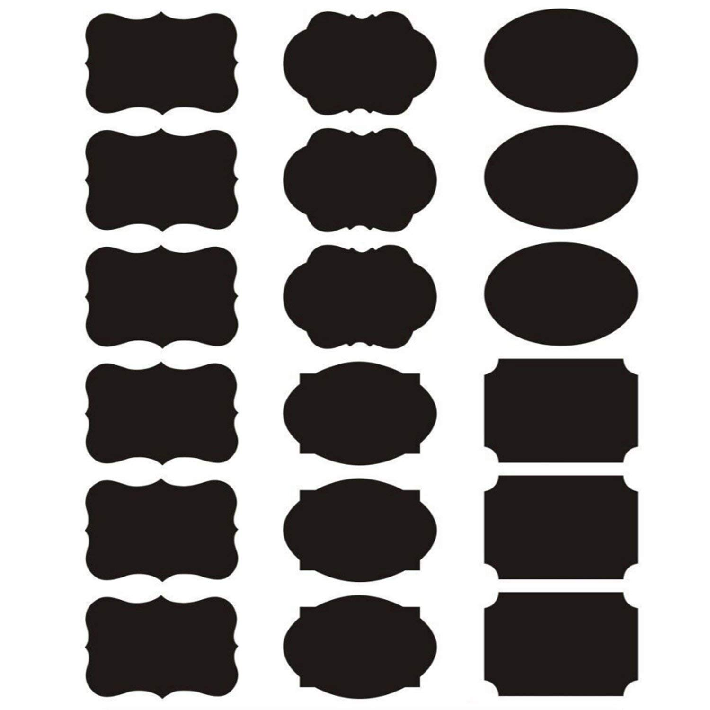Blackboard Stickers Kitchen Jam Jar Chalkboard Tags Classification Labels Black
