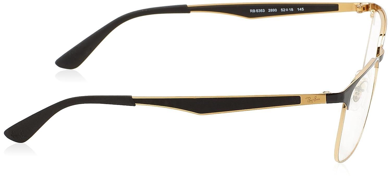 1e9dbafcfca Amazon.com  Ray-Ban Unisex RX6363 Eyeglasses Gold Top On Black 52mm   Clothing