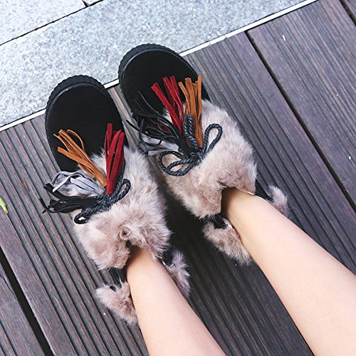Charm Foot Womens Comfort Nappe Lace Up Platform Short Boots Neri