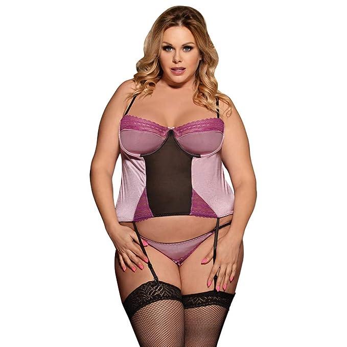 Las mujeres atractivas de la ropa interior más el tamaño de la camisa de dormir del sujetador ...
