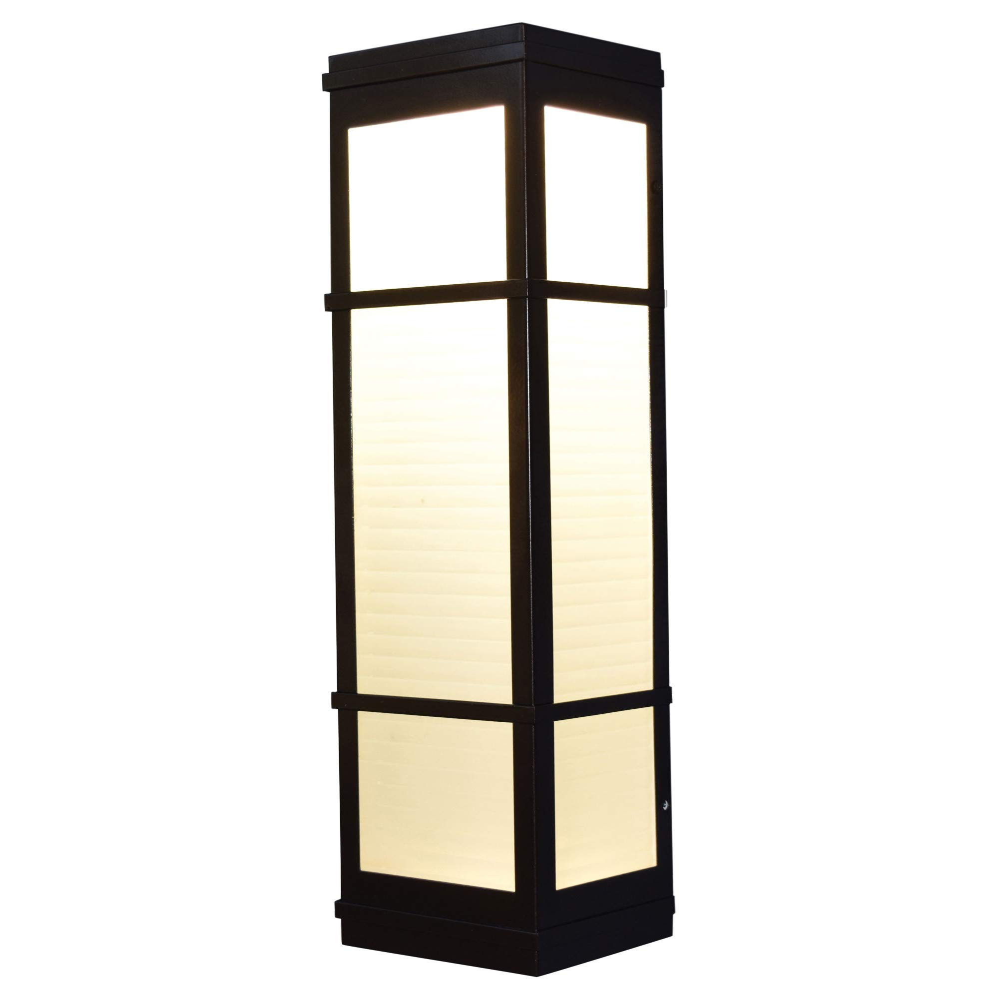 Access Lighting Metropolis 16'' LED Outdoor Wall Fixture - Bronze Finish with Ribbed Frosted Glass Shade