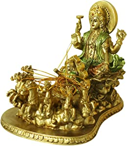 Hindu God Lord Surya Statue - India Home Temple Mandir Puja Idol Murti Pooja Item - Indian Diwali Decor Holiday Item Religious Handicraft Figurine