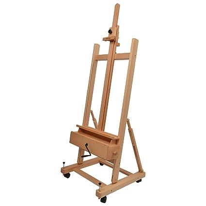 Artina Pisa - Caballete de pintura profesional de estudio con ruedas - Madera maciza de haya
