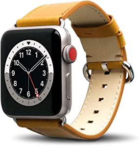 Alto Leather Band Compatible with Apple Watch Band 40mm 38mm, Classic Handmade Premium Italian Aniline Full Grain Leather Replacement Strap for Men Women iWatch Series 6 SE 5 4 3 2 1 (Caramel Brown)