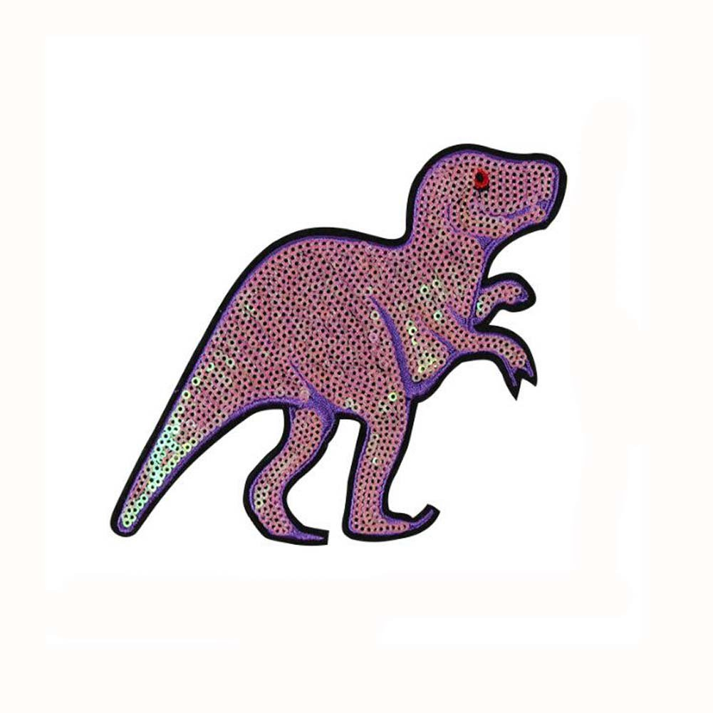 Rosa de dibujos animados dinosaurio forma lentejuelas ropa coser ...