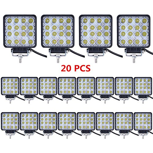 (Led Light Bar,Lumitek 20PCS 4inch 48W Led Work Light Square Flood lights Off-road Lights Led lights for Trucks,Off-road Vehicle, ATV, SUV, UTV, 4WD, Jeep, Boat and more)