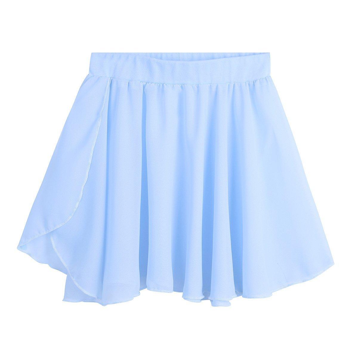 Agoky Kids Girls Classic Dance Basic Chiffon Pleated Short Tutu Skirt Pull On Warp Dance Wear
