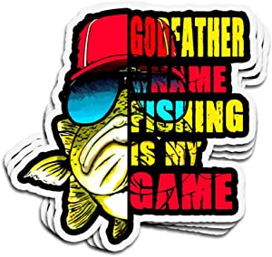 DKISEE 3 PCs Stickers Godfather is My Name Fishing is My Game Die-Cut Wall Decals for Laptop Window Car Bumper Water Bottle Helmet 4 inches