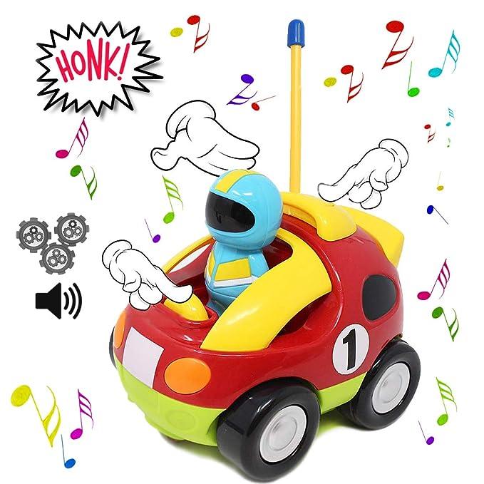 JOYIN Cartoon RC Rennauto Ferngesteuertes Auto Spielzeug mit Musik Fernbedienung und Licht f/ür Baby Kleinkind Kinder