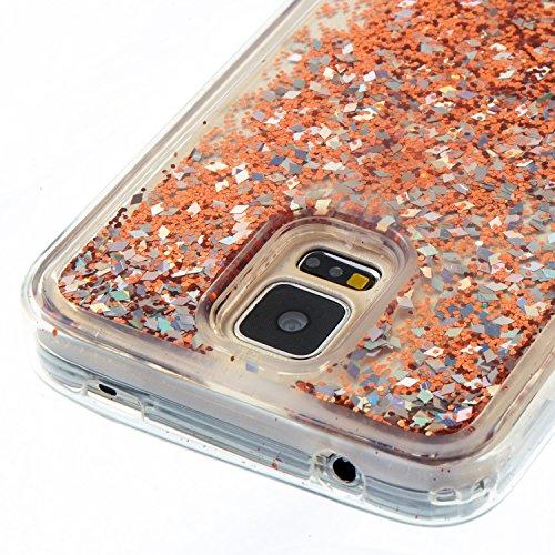 Funda Galaxy S5 Anfire Carcasa Glitter Silicona Líquido Arenas Movedizas para Samsung Galaxy S5 Bling Brillo Estrellas TPU Case Transparente Flotante Moviendo Lentejuela Cubierta Caja Sparkle Claro Cr Oro