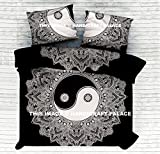 Exclusive Range of Reversible Black & White Queen Size Duvet Covers With Pillow Covers, Yin Yang Mandala Indian Duvet Quilt Cover Coverlet Bohemian Doona Cover Handmade 92'' x 82'' By Handicraft-Palace