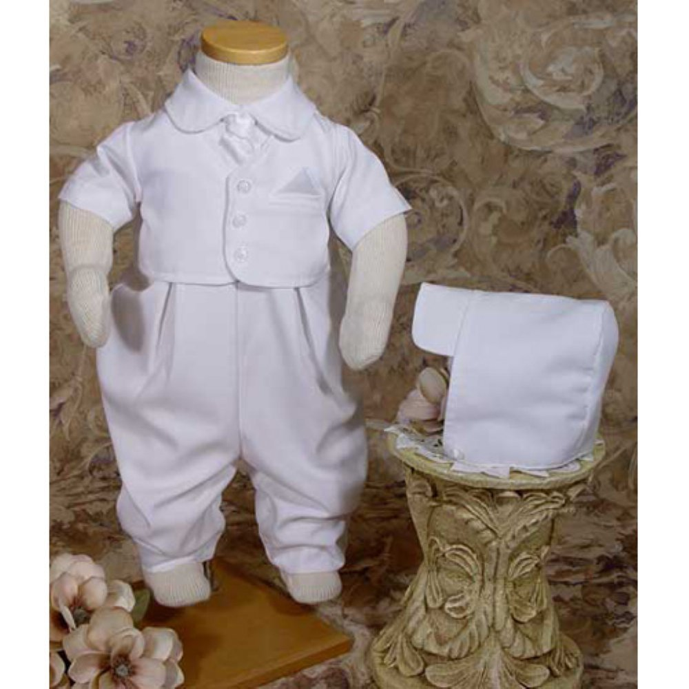 Handsome White Vested Gabardine Short Sleeve Christening Baptism Coverall 06 Month Little Things Mean a Lot GB501S