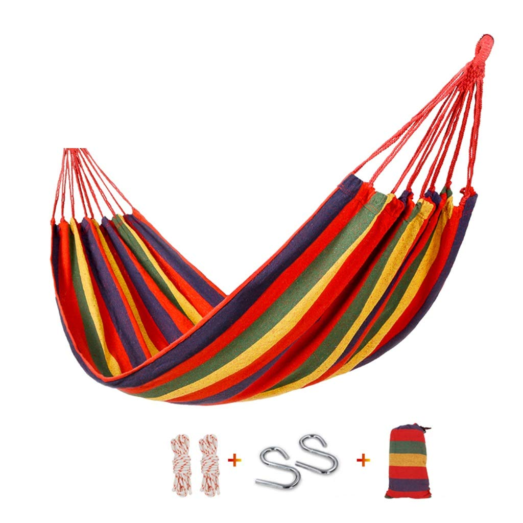 DR01 Hammocks Hammock Outdoor Leisure Single Double Thicken Canvas Indoor College Dormitory Room Camping Swing Bold Tie Rope New Canvas