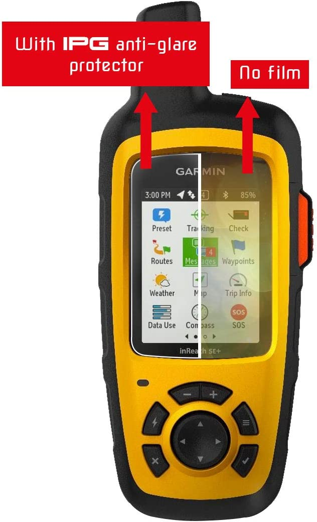 Glare Garmin inReach SE+ Handheld Satellite Communicator Touch Screen 2X Invisible Film Screen Protector Guard Cover Free Lifetime Replacement Warranty Bubble -Free IPG Compatible with Anti